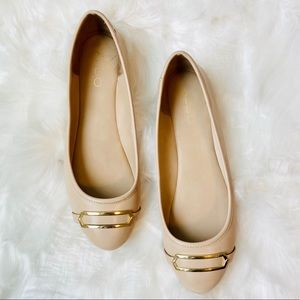 ALDO Nude Flats with Gold Buckle